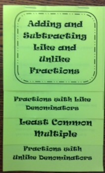 Adding/Subtracting Fractions Flip Book