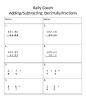 Adding/Subtracting Fractions and Decimals
