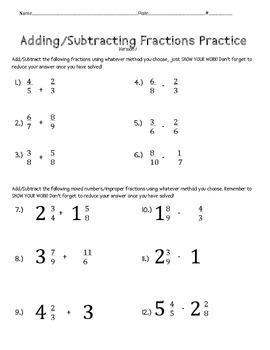 Adding/Subtracting Fractions and Decimals Worksheet Bundle ...