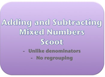 Adding/Subtracting Mixed Numbers Task Cards