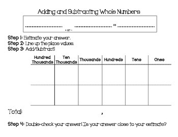 Adding/Subtracting WHOLE NUMBERS Placemat