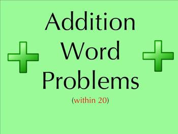 Addition Word Problems within 20 - Smartboard