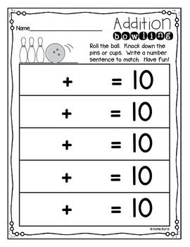 Addition Bowling ~ Number Sentence Recording sheets