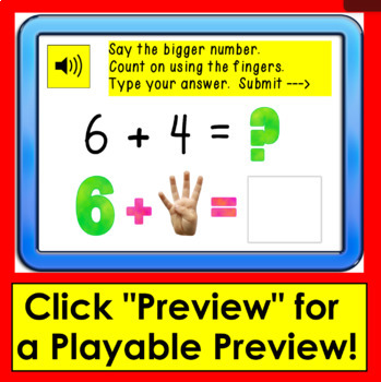 Boom Cards™ Addition to 10: Counting On - Type the Answer - With Sound!