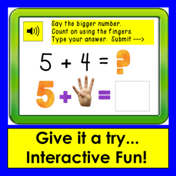 Boom Cards Math Addition to 10: Counting On - Type the Answer - With Sound!