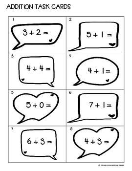 Addition 0-10 Task Cards (kindergarten, first grade)