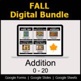 Addition 0-20 - Digital Fall Math Bundle