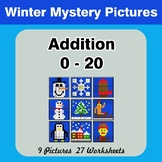 Addition 0 - 20 Math Mystery Pictures - Winter