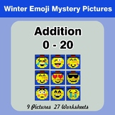 Addition 0 - 20 Math Mystery Pictures - Winter Emoji