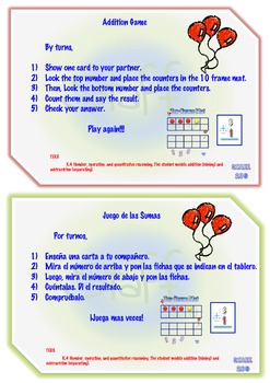 Addition-Subtraction up to 10 With Counters K-2nd Grade Bilingual Math Center