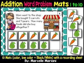 Addition Word Problem Mats - Work it out to Add quantities 1-10