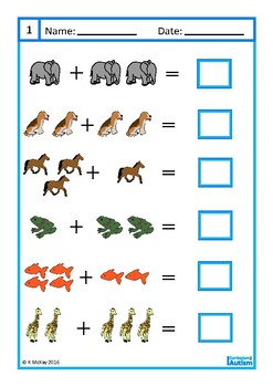 Addition 1-10 Worksheets, Animal Theme, Autism & Special Education