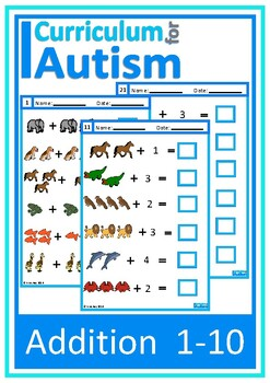 Addition 1-10 Animals Theme Autism Special Education