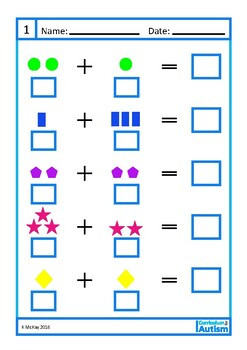 Addition 1-10 Visual Worksheets, Autism, Special Education