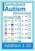 Addition 1-10 Visual Worksheets Autism Special Education