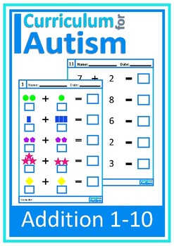 Addition 1 10 Visual Worksheets Autism Special Education Tpt Worksheets For Autism Melt Down Addition 1 10 Visual Worksheets Autism Special Education