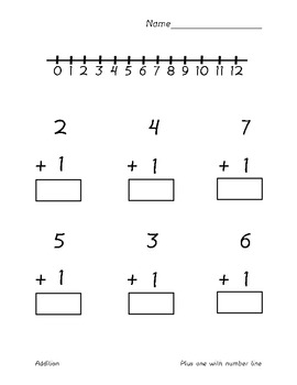 Addition 1-10 plus 1 (With Number Line)