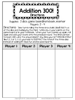 Addition 1, 2, 3:  A Differentiated Addition and Subtraction Game for Grades 2-5