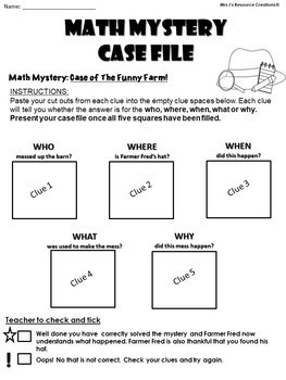 Addition (1-20) Math Mystery: Case of the Funny Farm (GRADES 1-2) 5 W's Format