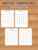 Addition 1 minute Drill/Test V (10 Math Worksheets with answers)