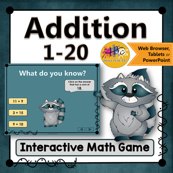 Addition 1 to 20 Interactive Math Game {Dancing Raccoon}