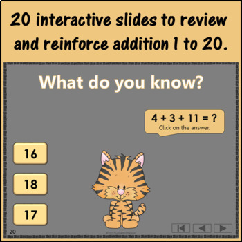 Interactive Math Game Addition 1 to 20 {Dancing Tiger}