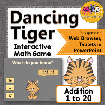 Addition 1 to 20 Interactive Math Game {Dancing Tiger}