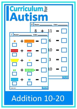 Addition 10-20 Worksheets, Autism, Special Education