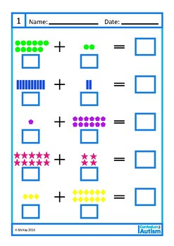 Addition 10-20 Worksheets Autism Special Education