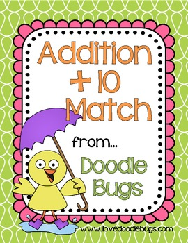 Addition +10 Math Fact Match / Pocket Chart Activity { free download }