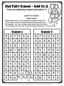 Free Addition Games NO PREP for Addition Fact Fluency