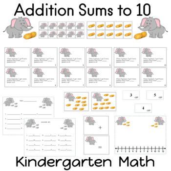 Addition 12  Task Cards Sums to 10 Ten Frames Number Line Answer Key