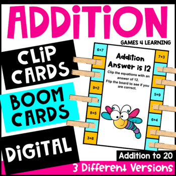 Addition Activity: Pick, Flip Check Cards for Addition Facts Fluency