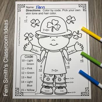 Color By Numbers St. Patrick's Day Math Addition Facts