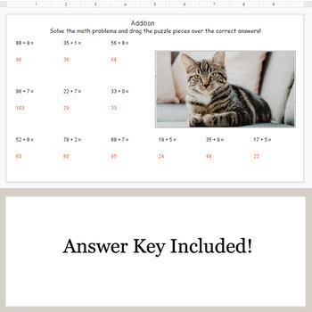 Addition: 2-Digit + 1-Digit - Google Slides - Cat Puzzles