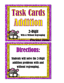 Addition 2-Digit With and Without Regrouping Task Cards
