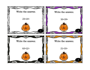 Halloween Math Addition 2 Digit (W/O Regrouping) Task Card for Math Centers