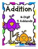 Addition  2-Digit with 4 Addends - Birds