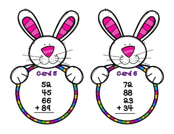 Addition  2-Digit with 4 Addends - Bunnies