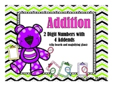 Addition 2-Digit with 4 Addends - Clip Boards