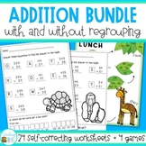 Addition with and without Regrouping Worksheets and Games Bundle