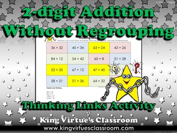 Addition: 2-digit Without Regrouping Thinking Links Activity - King Virtue