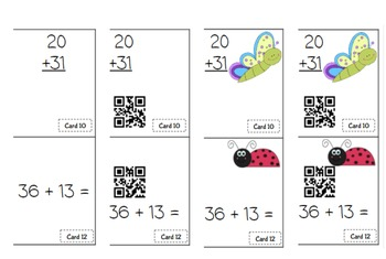 Addition 2 digit no regrouping task cards ready to use