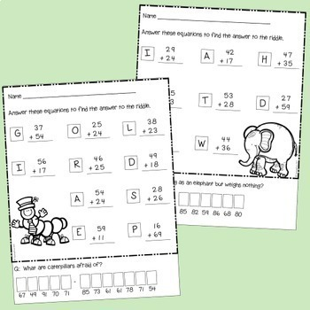 Addition Riddles Two Digit Numbers with Regrouping