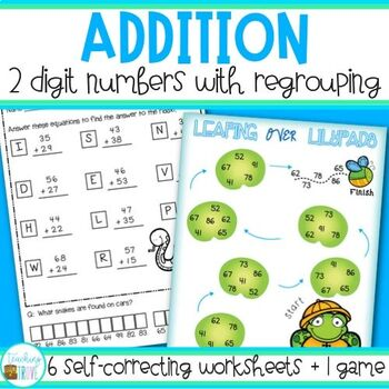 two digit addition with regrouping worksheets and game by. Black Bedroom Furniture Sets. Home Design Ideas