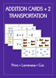 Addition +2 printable math cards | Transportation theme