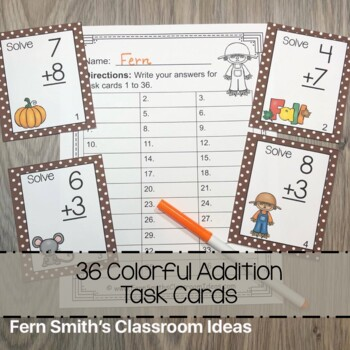 Fall Basic Addition Facts Task Cards, Recording Sheets and Answer Keys
