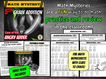 5th Grade Addition Math Mystery: Adding Fractions and Adding Decimals Review