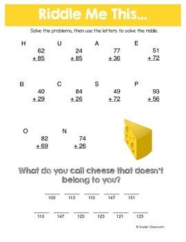 Addition Math Riddles Worksheets