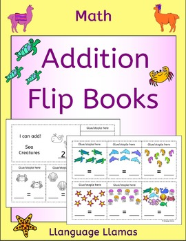 Addition flip books - numbers up to 20 - with cute animal graphics